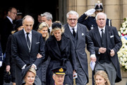 King Philippe of Belgium, Queen Mathilde of Belgium and Princess Elisabeth of Belgium attend the funeral of Grand Duke Jean on May 04, 2019 in Luxembourg, Luxembourg.