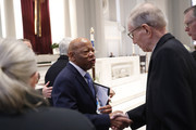 Rep. John Lewis (D-GA) greets family members before a funeral service for former Rep. John Dingell on February 14, 2019 at Holy Trinity Catholic Church in Washington, DC. Dingell, who represented southeast Michigan for 59 years in the House of Representatives, died last week at age 92.