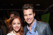 """Actors Amy Paffrath (L) and Drew Seeley attend Funimation Films presents """"Your Name."""" Theatrical Premiere in Los Angeles, CA at Yamashiro Hollywood on March 23, 2017 in Los Angeles, California."""