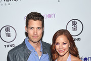 """Actors Drew Seeley (L) and Amy Paffrath attend Funimation Films presents """"Your Name."""" Theatrical Premiere in Los Angeles, CA at Yamashiro Hollywood on March 23, 2017 in Los Angeles, California."""