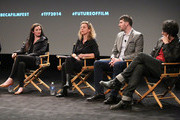 (L-R) Journalist Karen Leigh, Executive Director of WITNESS.ORG Yvette Alberdingk Thijm, co-founder of UPWORTHY, Eli Pariser and filmmaker Maxim Pozdorovkin attend Future of Film: All That's Fit To Shoot, Print Or... Tweet - 2014 Tribeca Film Festival at SVA Theater on April 23, 2014 in New York City.