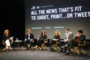 (L-R) Journalists Perri Peltz, Ben Anderson, Karen Leigh, Executive Director of WITNESS.ORG Yvette Alberdingk Thijm, co-founder of UPWORTHY, Eli Pariser and filmmaker Maxim Pozdorovkin attend Future of Film: All That's Fit To Shoot, Print Or... Tweet - 2014 Tribeca Film Festival at SVA Theater on April 23, 2014 in New York City.