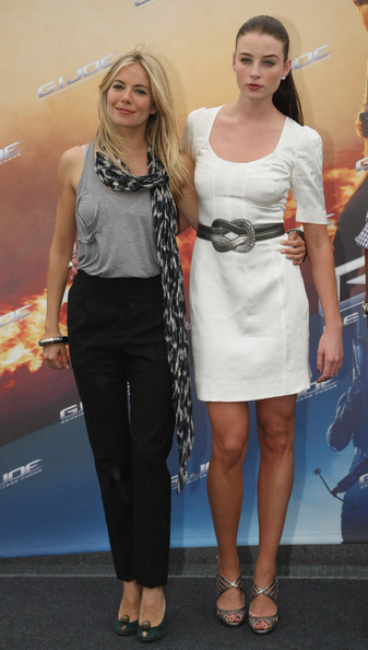 "Actress Sienna Miller (L) and actress Rachel Nichols attend the photocall for ""G.I. Joe: The Rise Of Cobra"" on the roof of the Hotel de Rome on July 23, 2009 in Berlin, Germany."