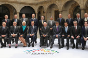 Finance ministers, central bank governors, and global financial institution heads pose in a group photo during a meeting of finance ministers of the G7 group of nations on May 28, 2015 in Dresden, Germany. The G7 finance ministers are meeting ahead of the upcoming G7 summit at Schloss Elmau in June.