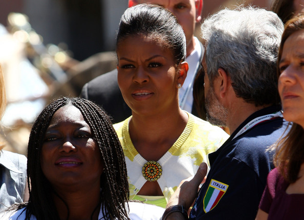 Michelle Obama visits the 'Palazzo del Governo' of L'Aquila on July 9, 2009 in L'Aquila, Italy. World leaders attending the G8 summit are expected to discuss tackling world hunger and the global reduction of greenhouse gases.