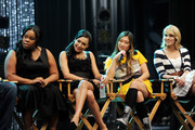 """(L-R) Actors Amber Riley, Naya Rivera, Jenna Ushkowitz and Dianna Agron appear at the """"GLEE"""" 300th musical performance special taping at Paramount Studios on October 26, 2011 in Los Angeles, California."""