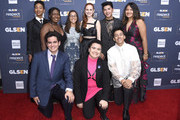 (L-R) Elle Smith, Matthew Yekell, Ayana Boyd, Jessica Chiriboga, Madelaine Petsch, El Martinez, Darid Prom, Eric Samelo, and Soli Guzman attend the GLSEN Respect Awards Los Angeles at the Beverly Wilshire Four Seasons Hotel on October 25, 2019 in Beverly Hills, California.