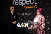Howard Schultz (L) and Anais Canepa attend the GLSEN Respect Awards at the Beverly Wilshire Four Seasons Hotel on October 19, 2018 in Beverly Hills, California.