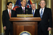 (L to R) House Majority Leader Eric Cantor (R-VA), House Speaker John Boehner (R-OH), U.S. Sen. Jon Kyl (R-AZ) and Senate Minority Leader Mitch McConnell (R-KY) speak to reporters about meeting with U.S. President Barack Obama over the deficit debate at the U.S. Capitol on April 13, 2011 in Washington, DC. Obama is scheduled to make a major budget address this afternoon.