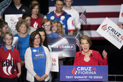 Former Hewlett-Packard chief executive Carly Fiorina speaks to supporters at a  campaign rally for Republican presidential candidate Sen. Ted Cruz (R-TX) in the Pavilion at the Pan Am Plaza on April 27, 2016 in Indianapolis, Indiana.  Cruz named Carly Fiorina as his pick for Vice President running mate during the rally.