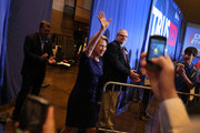 Former Hewlett-Packard chief executive Carly Fiorina and Vice Presidential candidate for Republican presidential candidate Sen. Ted Cruz (R-TX) waves as she is introduced during a campaign rally at the Century Center on April 28, 2016 in South Bend, Indiana. Cruz continues to campaign leading up to the state of Indiana's primary day on Tuesday.