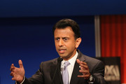 Presidential candidate Louisiana Governor Bobby Jindal speaks during the Republican Presidential Debate sponsored by Fox Business and the Wall Street Journal at the Milwaukee Theatre November 10, 2015 in Milwaukee, Wisconsin. The fourth Republican debate is held in two parts, one main debate for the top eight candidates, and another for four other candidates lower in the current polls.