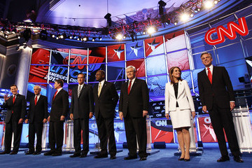 Ron Paul Michele Bachmann GOP Presidential Candidates Debate National Security Issues In Washington