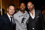 (L-R) Editor-in-chief of GQ Jim Nelson, actor Michael B. Jordan, and GQ Publisher Chris Mitchell attend the GQ Super Bowl Party 2014 sponsored by Patron Tequila, Van Heusen, and Miller Fortune on January 31, 2014 in New York City.