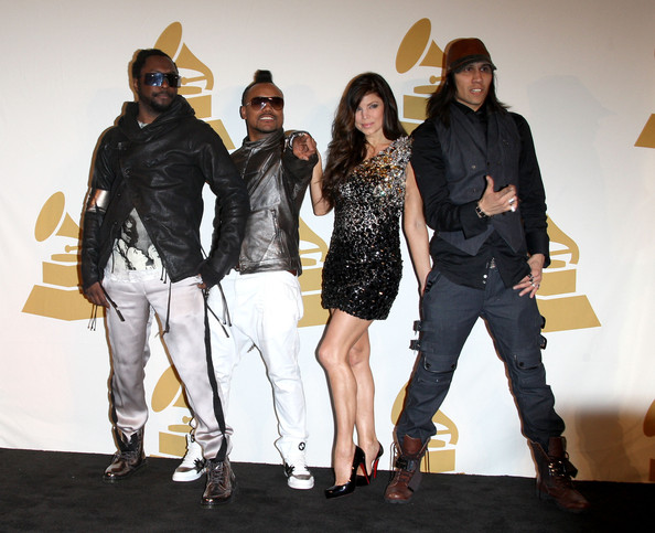 (L-R) Singers will.i.am, apl.de.ap, Fergie, and Taboo of the Black Eyed Peas pose in the press room during The GRAMMY Nominations Concert Live! at the Club Nokia on December 2, 2009 in Los Angeles, California.