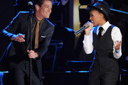 Singers Nate Ruess.of fun. and Janelle Monae perform onstage at The GRAMMY Nominations Concert Live!! held at Bridgestone Arena on December 5, 2012 in Nashville, Tennessee.