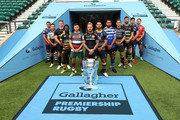 (L-R) George Smith of Bristol Bears, Danny Care of Harlequins, Owen Farrell of Saracens, Christian Wade of Wasps, Ben Youngs of Leicester Tigers, Jack Nowell of Exeter Chiefs, Ben Te'o of Worcester Warriors, Taulupe Faletau of Bath Rugby, Toby Flood of Newcastle Falcons, Tom Wood of Northampton Saints, Jonno Ross of Sale Sharks and Jaco Kriel of Gloucester Rugby pose for a photo during the Gallagher Premiership Rugby 2018-19 Season Launch at Twickenham Stadium on August 23, 2018 in London, England.