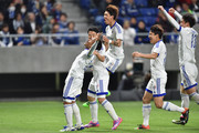 Santos of Suwon Samsung Bluewings FC celebrates with his team mates after scoring a second goal during the AFC Champions League Group G match between Gamba Osaka and Suwon Samsung Blue Wings at the Suita City Football Stadium on April 19, 2016 in Suita, Japan.