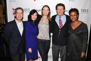 (L-R) Ken Weber, Sheryl WuDunn, Olivia Wilde, Nicholas D. Kristof and Michelle Byrd attend Games For Change presents the launch of Half The Sky Movement: The Game at No. 8 on March 4, 2013 in New York City.