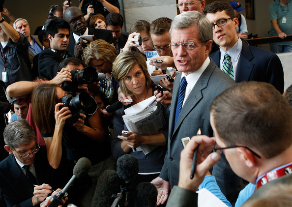 Max Baucus and reporters