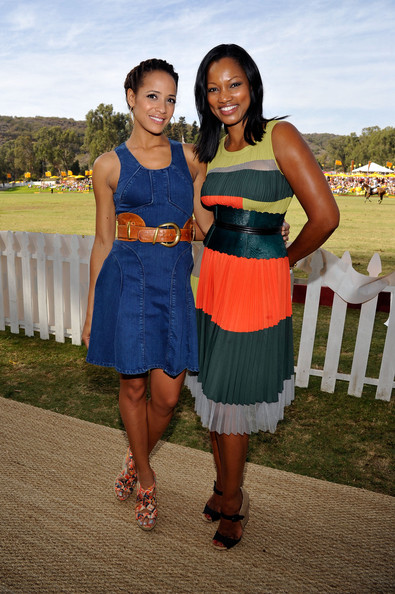 Third Annual Veuve Clicquot Polo Classic - Los Angeles - Inside [clothing,dress,fashion,yellow,cocktail dress,summer,event,fun,smile,formal wear,los angeles,pacific palisades,california,will rogers state historic park,veuve clicquot polo classic,dania ramirez,garcelle beauvais]