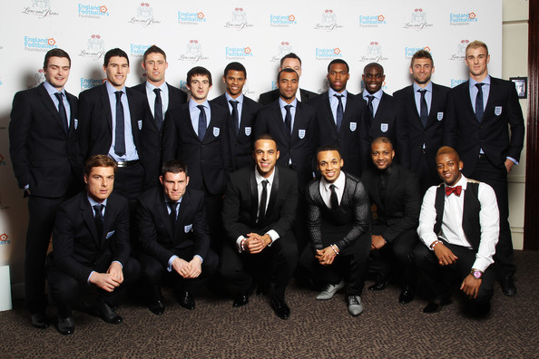 Lions And Roses Charity Dinner 2012 - Arrivals [team,suit,formal wear,event,tuxedo,white-collar worker,management,company,arrivals,adam johnson,members,lions,coverage,squad,boyband,england,roses charity dinner,the england footballers foundation lions and roses charity dinner]