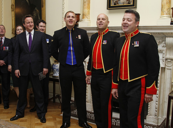 Musician Robin Gibb And The Soldiers Perform At 10 Downing Street