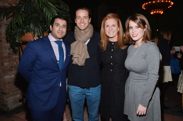 (L-R) Osman Khan, Alexander Gilkes, Duchess of York Sarah Ferguson and daughter Princess Eugenie York attend the Gavel&Grand Benefit Auction at The Bowery Hotel on March 26, 2014 in New York City.