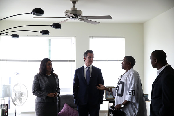 California Gubernatorial Candidate Gavin Newsom Tours Low-Income Apartment Complex With SF Mayor London Breed [gavin newsom,london breed,candidate,mayor,gavin newsom tours,john cox,white-collar worker,mechanical fan,businessperson,event,technology,home appliance,aerospace engineering,management,ceiling fan,job,california,apartment complex,sf,gubernatorial]