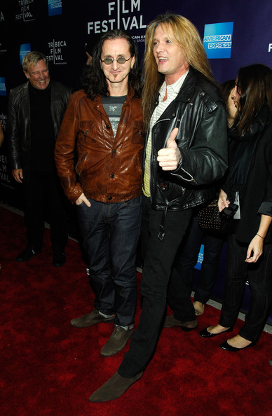 """Premiere Of """"RUSH: Beyond The Lighted Stage"""" 2010 Tribeca Film Festival [rush: beyond the lighted stage,premiere,event,leather jacket,carpet,jacket,leather,outerwear,textile,flooring,performance,geddy lee,sebastian bach,new york city,school of visual arts theater,premiere,tribeca film festival,premiere]"""