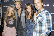 """(L-R) Musicians Cheyenne Kimball, Mike Gossin, Rachel Reinert and Tom Gossin of Gloriana attend the screening of """"Paper Heart"""" at AMC Loews 19th Street on August 5, 2009 in New York City."""