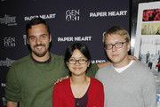 """(L-R) Actor Jake M. Johnson, actress Charlyne Yi and writer/director Nicholas Jasenovec attend the screening of """"Paper Heart"""" at AMC Loews 19th Street on August 5, 2009 in New York City."""