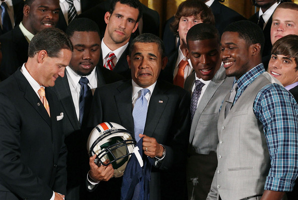 Obama Welcomes BCS Champion Auburn University Football Team To White House