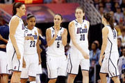 Stefanie Dolson #31, Kaleena Mosqueda-Lewis #23, Caroline Doty #5, Breanna Stewart #30 and Kelly Faris #34 of the Connecticut Huskies take the court against the Louisville Cardinals during the 2013 NCAA Women's Final Four Championship at New Orleans Arena on April 9, 2013 in New Orleans, Louisiana.
