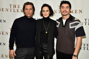 """(L-R) Matthew McConaughey, Michelle Dockery and Henry Golding attend """"The Gentlemen"""" New York Photo Call at the Whitby Hotel on January 11, 2020 in New York City."""