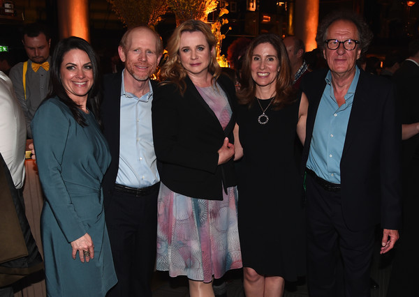 National Geographic's Premiere Screening of 'Genius' in London - Reception [event,social group,fashion,fun,formal wear,party,suit,smile,emily watson,ron howard,geoffrey rush,ceo,evp,director,london,national geographic,premiere screening of ``genius,reception]