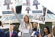 """(L-R) James Tindale, Charlotte Crosby, Nathan Henry and Chloe Etherington attend a photocall to launch series 10 of """"Geordie Shore"""" at Speaker's Corner on March 11, 2015 in London, England."""