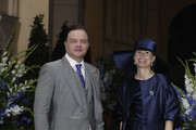 Alexander zu Schaumburg-Lippe and his wife Nadja attend the religious wedding ceremony of Georg Friedrich Ferdinand Prince of Prussia to Princess Sophie of Prussia in the Friedenskirche Potsdam on August 27, 2011 in Potsdam, Germany.