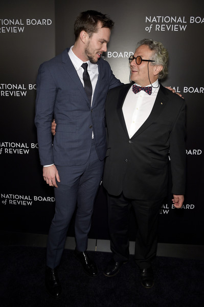 Celebs Attend the 2015 National Board of Review Gala [suit,formal wear,tuxedo,facial hair,fashion,tie,white-collar worker,event,premiere,outerwear,nicholas hoult,celebs,george miller,new york city,cipriani 42nd street,l,national board of review gala]
