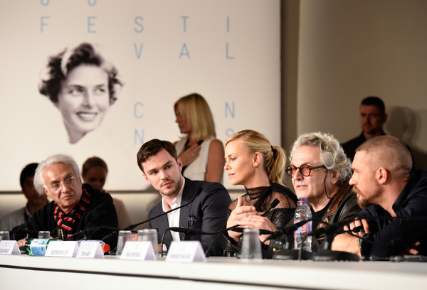 'Mad Max: Fury Road' - Press Conference - The 68th Annual Cannes Film Festival [mad max: fury road,event,news conference,design,conversation,convention,meeting,team,george miller,henri behar,tom hardy,actors,charlize theron,nicholas hoult,l-r,cannes film festival,press conference]