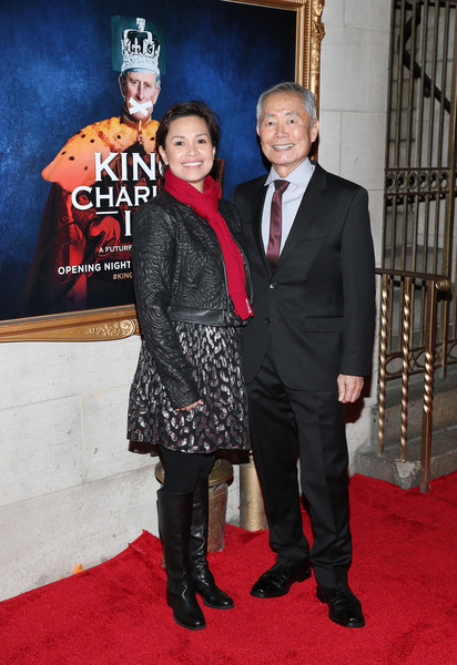 'King Charles III' Broadway Opening Night - Arrivals and Curtain Call [carpet,red carpet,premiere,flooring,event,suit,formal wear,tuxedo,opening night - arrivals,charles iii,lea salonga,george takai,curtain call,music box theatre,new york city,broadway,broadway opening night]