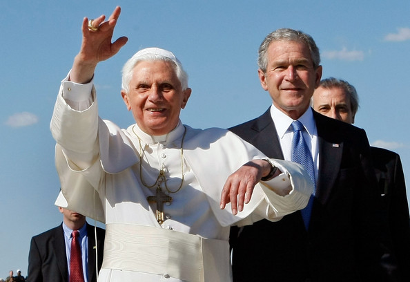 (FILE) Former US President George W Bush Publishes His New Book [pope,gesture,sky,event,photography,happy,suit,thumb,smile,benedict xvi,president,george w. bush,george w bush publishes his new book,cheering crowd,file,u.s.,andrews air force base,afp out,arrival]