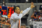 Coach Billy Donovan of the Florida Gators directs play against the Georgia Bulldogs January 9, 2013 at Stephen C. O'Connell Center in Gainesville, Florida.  Florida won 77 - 44.