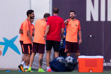 Gerard Pique FC Barcelona Training Session and Press Conference
