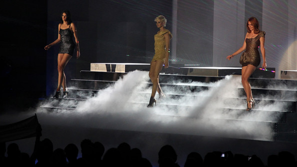 (L-R) Alisar, Laura and Hanna perform during the PRO7 TV show 'Germany's Next Topmodel  Final' at the Lanxess Arena on June 10, 2010 in Cologne, Germany.