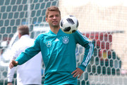 Thomas Mueller of Germany  plays with the ball during the Germany training session ahead of the 2018 FIFA World Cup at CSKA Sports Base Vatatinki on June 14, 2018 in Moscow, Russia.