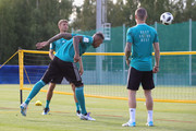 Jerome Boateng of Germany battles for the ball during a football tennis match of the Germany Training Session at ZSKA Vatutinki Sportarena on June 25, 2018 in Moscow, Russia.