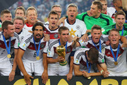 Germany celebrate with the World Cup trophy after defeating Argentina 1-0 in extra time during the 2014 FIFA World Cup Brazil Final match between Germany and Argentina at Maracana on July 13, 2014 in Rio de Janeiro, Brazil.