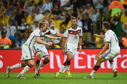 Mario Goetze of Germany celebrates scoring his team's first goal during the 2014 FIFA World Cup Brazil Final match between Germany and Argentina at Maracana on July 13, 2014 in Rio de Janeiro, Brazil.