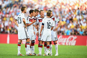(L-R) Christoph Kramer, Mesut Oezil, Thomas Mueller, Bastian Schweinsteiger, Philipp Lahm, and Toni Kroos of Germany wait to take a free kick during the 2014 FIFA World Cup Brazil Final match between Germany and Argentina at Maracana on July 13, 2014 in Rio de Janeiro, Brazil.